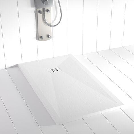 Receveur de douche Résine Stone PLES Blanc (grille colorée)