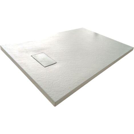 Receveur de douche SMC en fibre de verre effet pierre avec bonde inclus