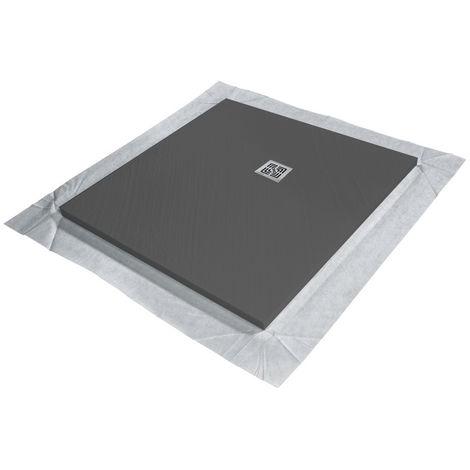 Receveur de douche VENISIO résine Gris ardoise grille carrée - 900x900