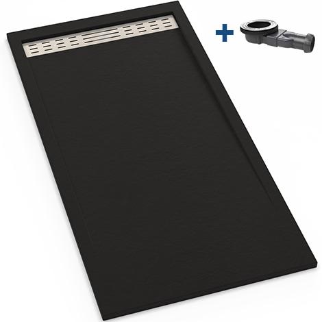 receveur extra plat en r sine 80x120 noir graphite bonde. Black Bedroom Furniture Sets. Home Design Ideas