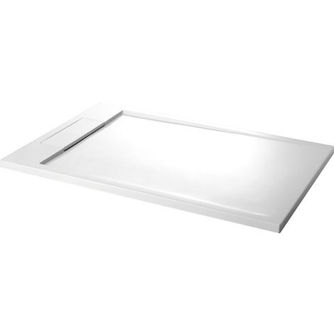 Receveur extra-plat 80x120 en solid surface blanc