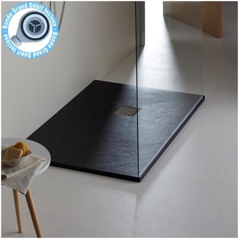 Receveur extra plat 80X140 moderne noir reflet ardoisé Noir