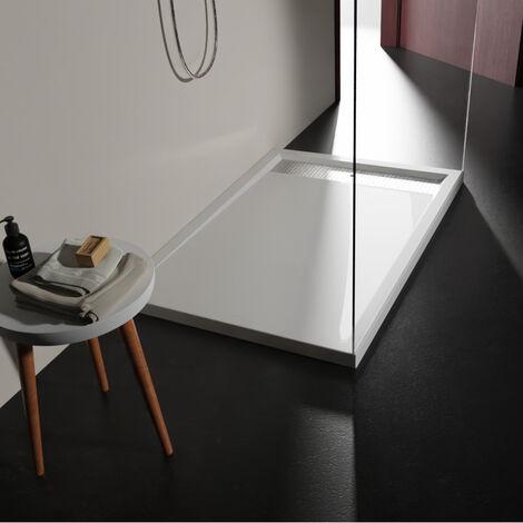 Receveur extra plat à poser 80x120 design blanc