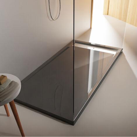 Receveur extra plat à poser xxl 80 x 160 cm gris anthracite