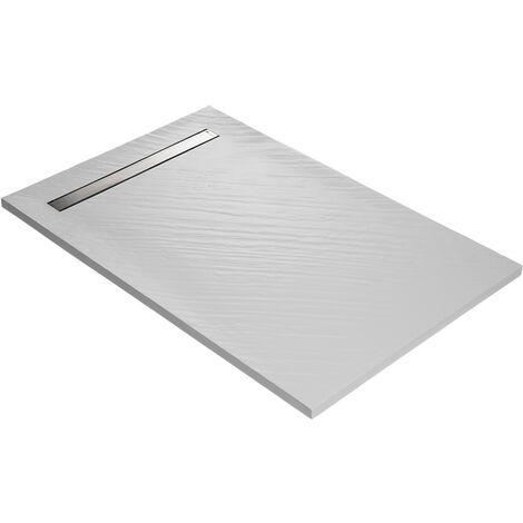 Receveur r_sine blanc siphon 360° et grille caniveau acier inox