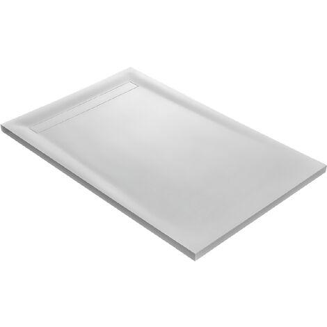 Receveur solid surface blanc lisse siphon 360° et grille caniveau acier inox