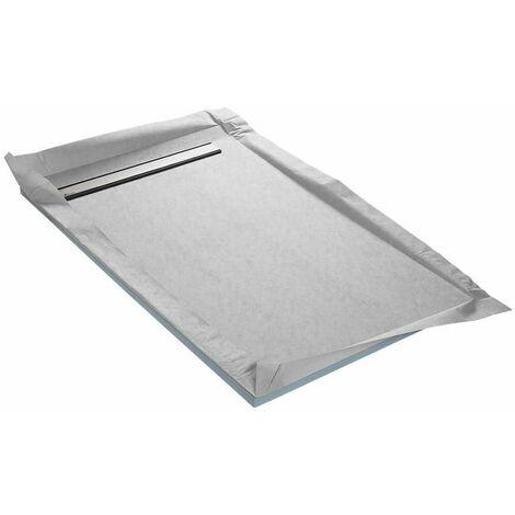 Receveurs à carreler caniveau monopente - grille acier inox plein, siphon à 360° et natte _tanche pr_ mont_e