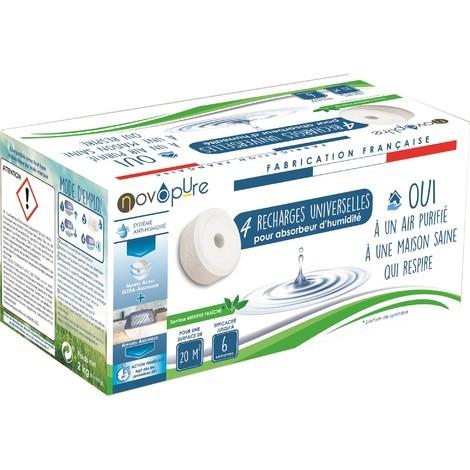 Recharge galet pour absorbeur d'humidité 500g x4 Menthe