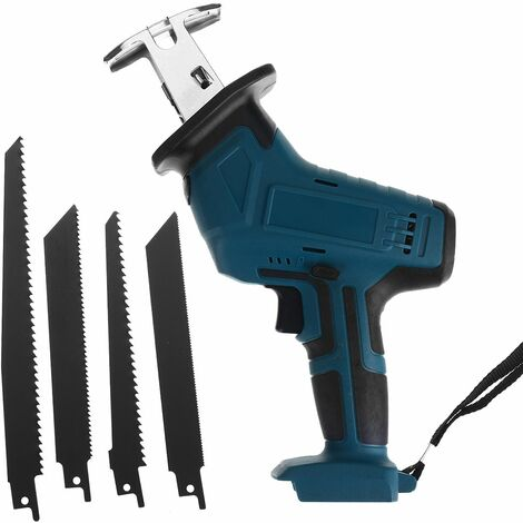 Rechargeable 88V Cordless Reciprocating Saw Metal Wood Cutting Kit (Blue, Reciprocating Saw with 4 Piece Saw Blade)