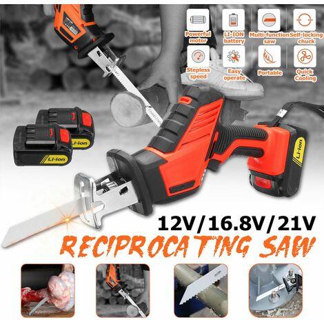 Rechargeable Cordless Electric Brushless Reciprocating Saw [2pcs Li-Ion] [3000RPM] [12V] [16.8V] [21V] (21V 2 Battery)