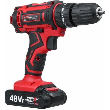 Rechargeable cordless electric hammer drill 48V 25 + 3 speeds Built-in LED work light 3 step parameters Cordless electric drill +1 or 2 batteries (with 2 Li-Ion batteries)