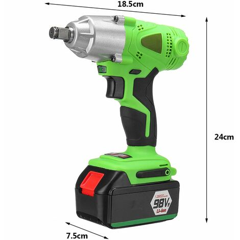 Rechargeable Electric Wrench Cordless Brush Woodworking Tool with LED lighting 98VF WASHED