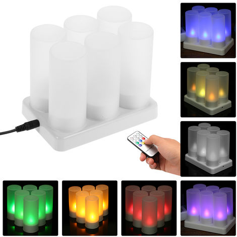 Rechargeable LED Color Changing Flickering Flameless Tealight Candles Lights with Remote Control Cups Charging Base