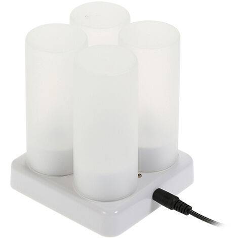 Rechargeable LED Flickering Flameless Candles Lights with Frosted Cups Charging Base Yellow Light AC100-240V
