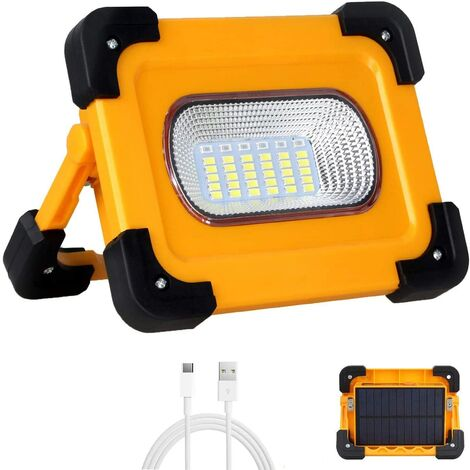 Rechargeable LED Floodlight 60W 3000 Lumens Construction Work Light with 9000mAh Battery & Solar Panel 4 Modes Portable Lantern Outdoor Floodlight for Camping, DIY