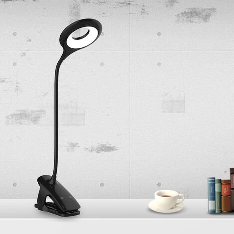 Rechargeable LED wireless office lamp, book reading lamp with 16LEDS, 3 color and 3 variable intensity, bed clamp lamp, child touch bedside lamp, black [energy class A +]