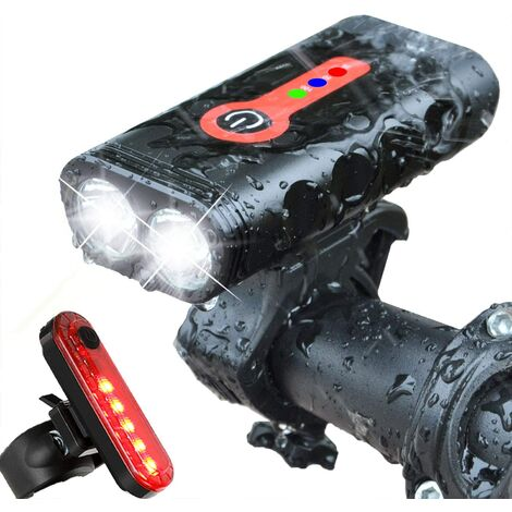 Rechargeable USB Bike Light, Powerful LED Front Bike Light 4 Brightness Modes Easy to Install for Mountain Cycling