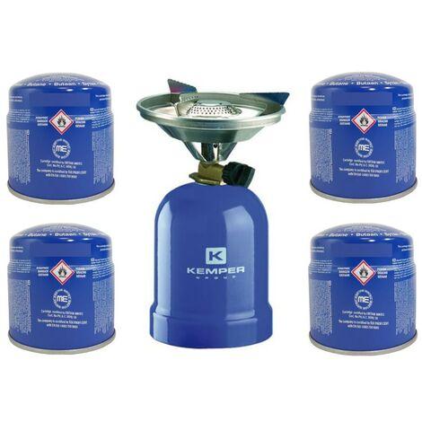 Réchaud à gaz Kemper métal + 4 cartouches de gaz - Réchaud camping pour cartouche gaz 190g