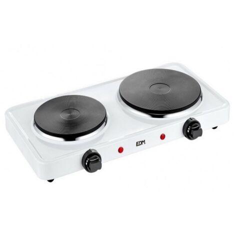 Réchaud cuisson électrique 2500W 2 feux EDM Blanc laqué Thermostat réglable