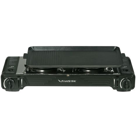 Réchaud double / Plancha grill Gaz Piezo 4400 W FIVESTAR 2en1 + Portable avec Mallette
