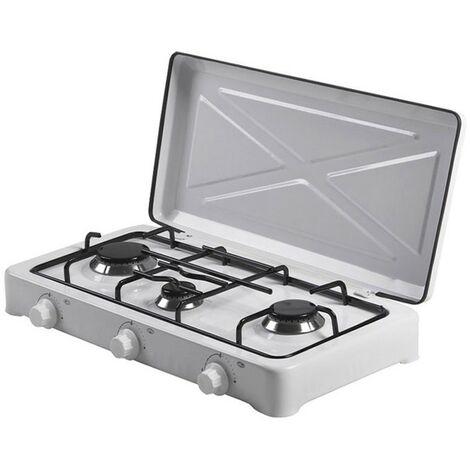 Réchaud Gaz 3 feux 4450W EDM Blanc laqué Portable 60 x 35 x 9 cm