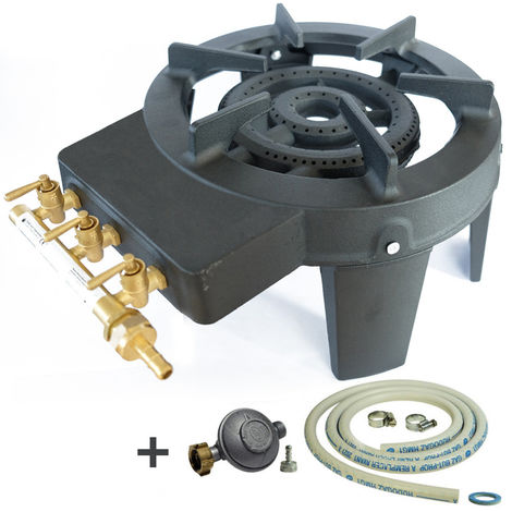 Réchaud gaz de la gamme TRIGLAV de MEVA en fonte 4 pieds puissance 9.8 kW 3 robinets de réglage laiton Connectique incluse