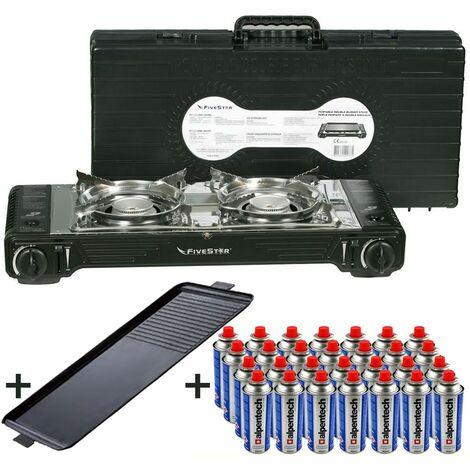 Réchaud gaz Double + Plancha Grill 2en1 4400W FIVESTAR 2en1 Portable avec Mallette + 28 Cartouches 227gr