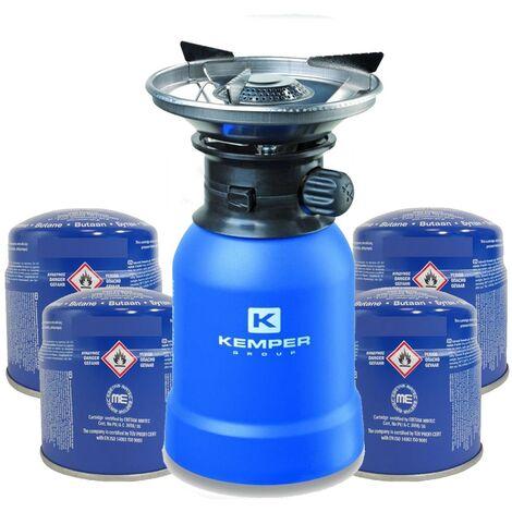 Rechaud gaz piezo KEMPER+ 4 Cartouches Rechaud a gaz coque ABS - Rechaud camping pour cartouche gaz 190g