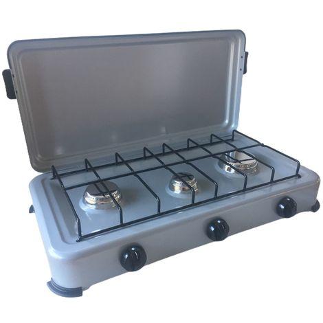 Rechaud gaz portable 3 feux 3000W SILVER 3 Butane/Propane Bruleurs inox Couvercle