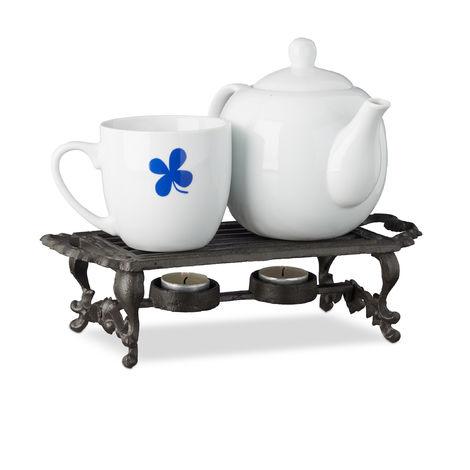 Réchauffe plat, chauffe-plat réchaud fonte bougie théière café antiquités HxlxP: 8,5 x 30 x 13,5 cm, marron