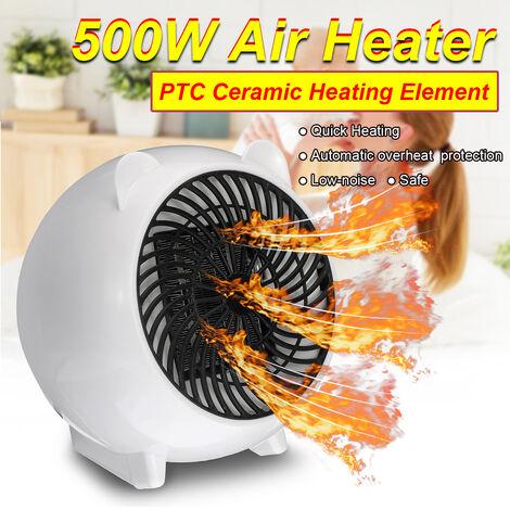 Réchauffeur d'air électrique portable 500W Chauffage PTC Chauffage électrique Mini chaud mignon ventilateur intelligent Air hiver plus chaud chauffage rapide norme européenne blanc blanc Prise UE