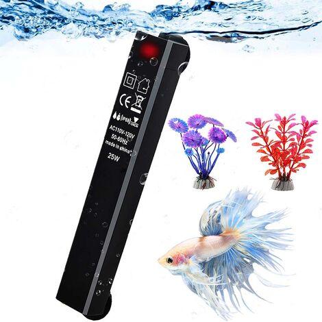 Réchauffeur d\'aquarium, chauffe-aquarium 25W petit chauffe-eau intelligent, thermostat submersible économe en énergie - cadeau avec 2 plantes artificielles
