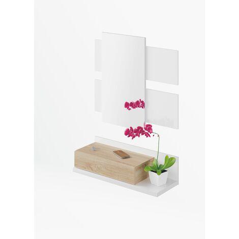 Recibidor 1c + espejo Blanco Artik y Roble Canadian 75x116x29 cm