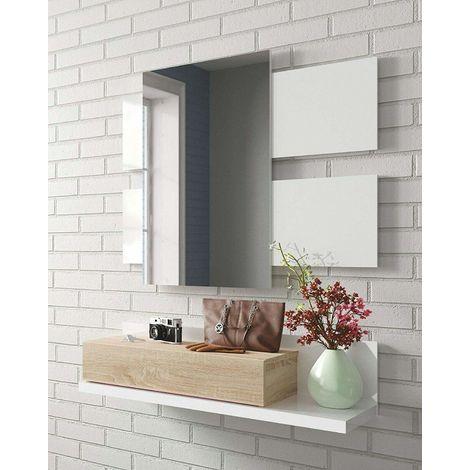 Recibidor con cajón + Espejo, Color Roble y Blanco Mate, Medidas: 75 x 116 x 29 cm de Fondo