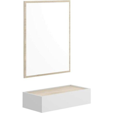 Recibidor con cajón + Espejo, Medidas; Ancho 63 cm Profundo 35 cm Alto 80 cm. (Blanco y Natural)