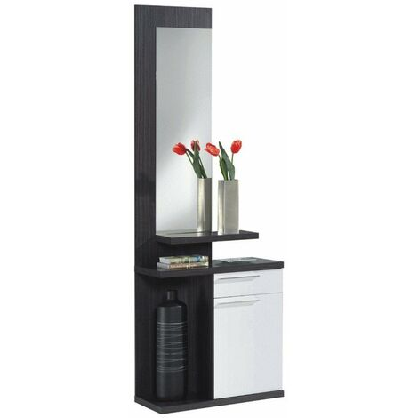 Recibidor con espejo color gris ceniza y blanco 3 estantes estilo moderno mueble 186x61x29 cm
