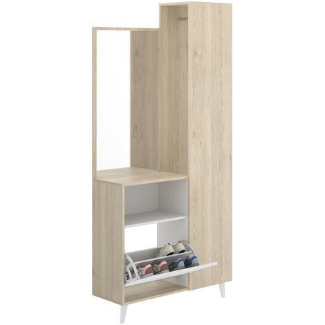 Recibidor con Espejo, Mueble Entrada Acabado en Blanco y Natural, Medidas: Alto 197cm. Ancho 87cm. Fondo 30cm.