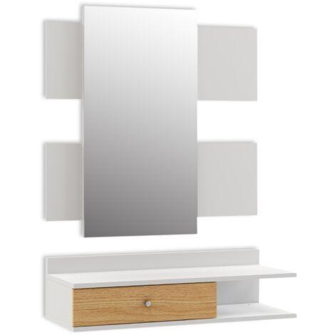 Recibidor con espejo mueble entrada diseño nordico 75x116x29cm