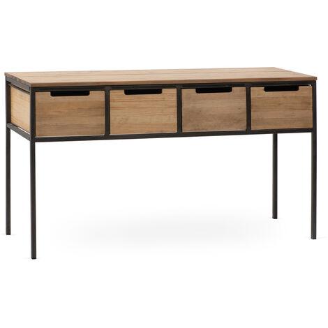 Recibidor iCub 4 Cajones 140x48x78cm negro madera acabado vintage estilo industrial - 48.5X140X78 cm - Efecto Vintage - Negro