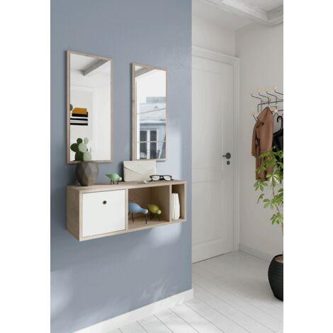 Recibidor pequeño colgado a la pared, espejos incluidos, 28x70x28 cm(alto x ancho x profundo), color roble aurora y blanco, colección Nanda