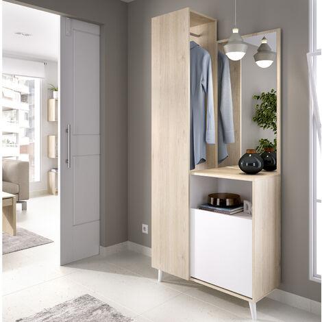 Recibidor Perchero con Espejo, Mueble Entrada Acabado en Blanco y Natural, Medidas: Alto 197cm. Ancho 87cm. Fondo 30cm.