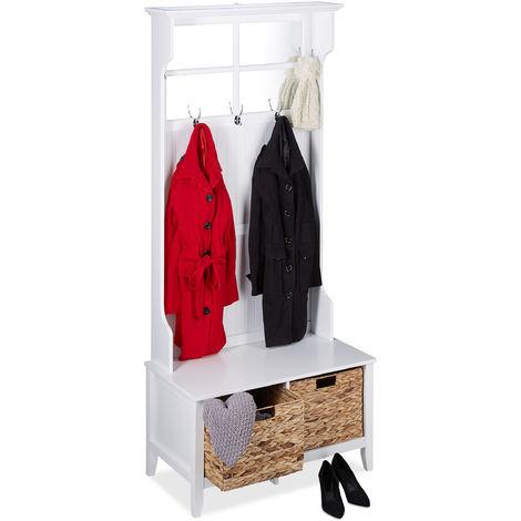 Recibidor Perchero Rústico con Espejo, Banco, 5 Colgadores y 2 Cestos, DM y Metal, Blanco, 186 x 81 x 44,5 cm