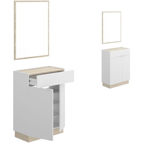 Recibidor zapatero + espejo, acabado Blanco y natural, medidas 88x63x33 cm de fondo