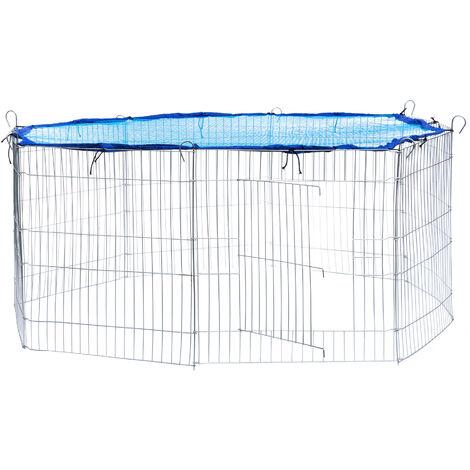Recinto al aire libre con red de seguridad Ø 145cm - jaula para conejos con red de seguridad, caseta para conejo con rejilla métalica estable, parque cubierto para mascotas de acero