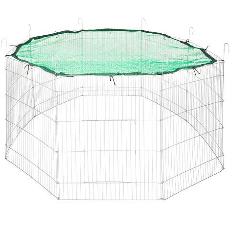 Recinto al aire libre con red de seguridad Ø 204cm - jaula para conejos con red de seguridad, caseta para conejo con rejilla métalica estable, parque cubierto para mascotas de acero - verde