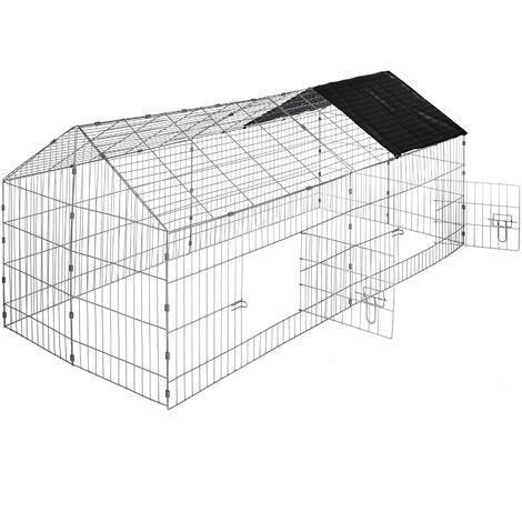 Recinto al aire libre para conejos con parasol - jaula para conejos con dos puertas, caseta para conejo con rejilla métalica estable, parque cubierto para mascotas de acero