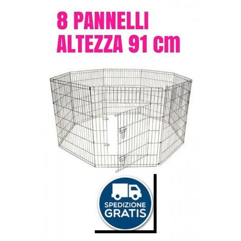 Recinto per cane gatto rete gabbia 8 pannelli altezza cm91