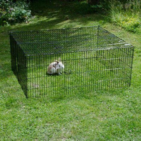 Recinto Recinzione Box Metallo Cani Roditori Cuccioli 144x116x58cm