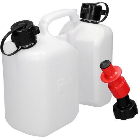 Recipiente doble combustible aceite cadena 3L 1,5L con sistema de llenado rojo