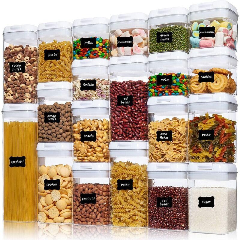 Récipients hermétiques pour le stockage des aliments, 20 pièces de récipients à céréales en plastique sans BPA avec couvercles à verrouillage facile,